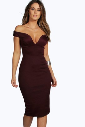 boohoo Sweetheart Off Shoulder Bodycon Dress
