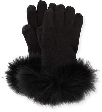 Neiman Marcus Cashmere Tech Gloves w/Fox Fur Cuff