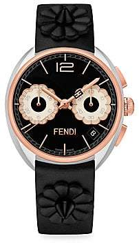 Fendi (フェンディ) - Fendi Fendi Momento Flowerland Stainless Steel Chronograph Leather Strap Watch