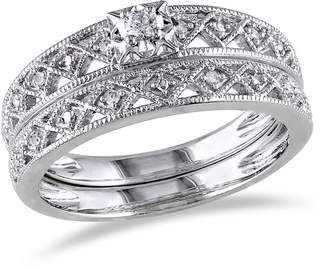 MODERN BRIDE 1/10 CT. T.W. Diamond Sterling Silver Vintage Style Bridal Set