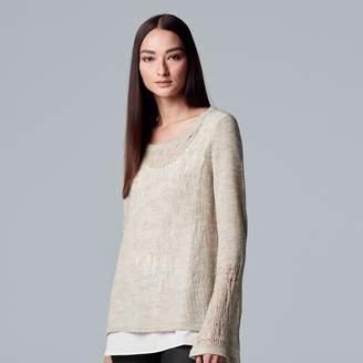 Vera Wang Women's Simply Vera Pointelle Mock-Layer Top