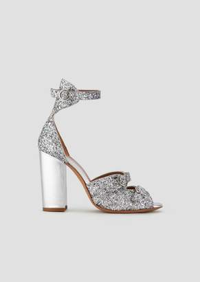 13287fc56a95 Emporio Armani Sandals In Glitter Nappa Leather With Metallic Heel