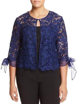 Marina Rinaldi Fabiana Floral Lace Tie-Sleeve Jacket