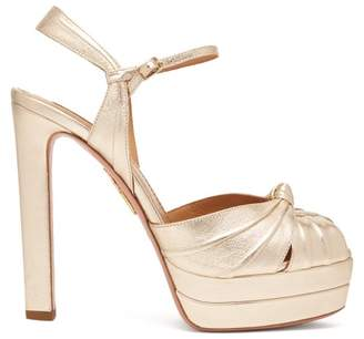 Aquazzura Evita 130 Metallic Platform Sandals - Womens - Light Gold
