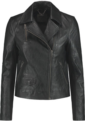 Muubaa Crinkled-leather biker jacket $598 thestylecure.com