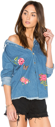 Lauren Moshi Sloane Button Up Denim Shirt $242 thestylecure.com