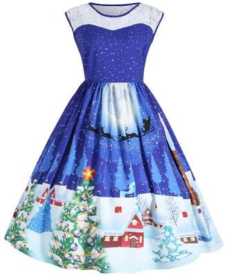 TONSEE Women's Sleeveless Christmas Print Lace Flared Swing Dress Plus Size (L, )
