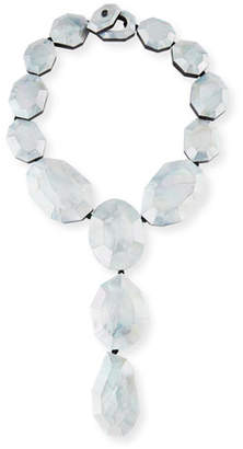 Viktoria Hayman Faceted Silvery Mother-of-Pearl Lariat Necklace
