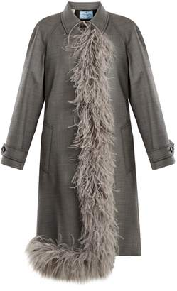 Prada Feather-trimmed point-collar wool-blend coat