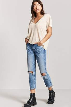 Forever 21 Plunging Heathered Knit Top