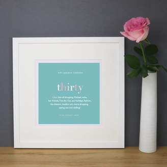 Designed Personalised 30th Birthday Print And Mount