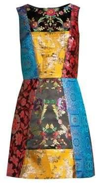 Alice + Olivia Malin Patchwork Jacquard Sequin A-Line Mini Dress