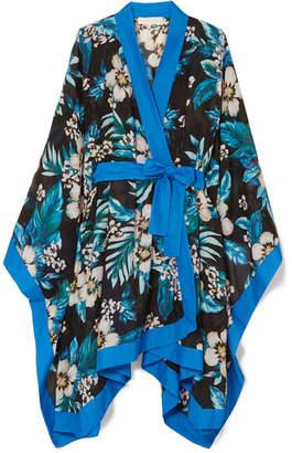 Diane von Furstenberg Floral-print Cotton And Silk-blend Kimono - Black