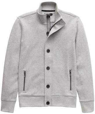 Banana Republic Button-Front Textured Sweatshirt Jacket