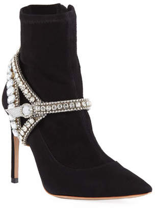 Sophia Webster Lorena Suede Jeweled-Strap Ankle Booties