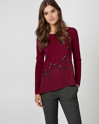 Le Château Embroidered Knit & Woven Sweater