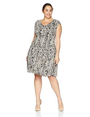 London Times Women's Plus Size Cap Sleeve V Neck FIT and Flare Dress