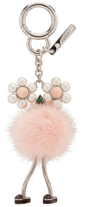 Fendi Pink Pearl and Fur Chick Keychain