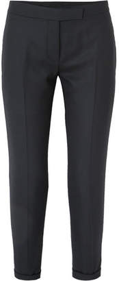 Thom Browne Cropped Striped Wool-twill Straight-leg Pants - Navy