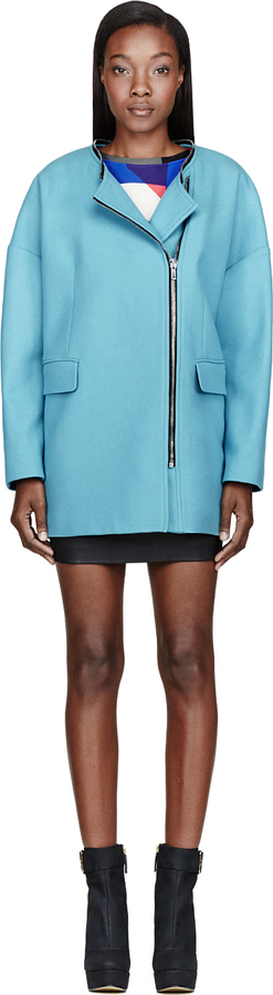 MSGM Sky Blue Wool Coat