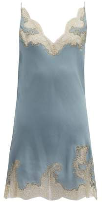 Carine Gilson Lace Trimmed Silk Crepe Slip Dress - Womens - Blue