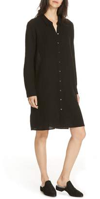 Eileen Fisher Classic Crinkle Organic Cotton Shirtdress