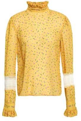 Philosophy di Lorenzo Serafini Lace And Ruffle-trimmed Floral-print Chiffon Blouse