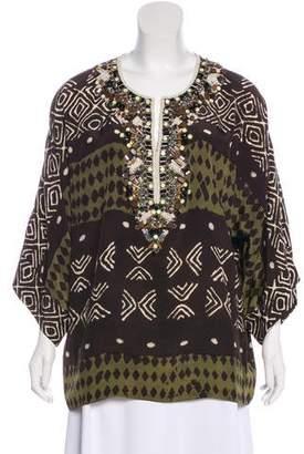 Oscar de la Renta Silk Embellished Blouse