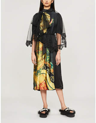 Simone Rocha Graphic-print elasticated-waist silk dress