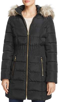 Laundry by Shelli Segal Windbreaker Faux Fur Trim Cinched Waist Puffer Coat