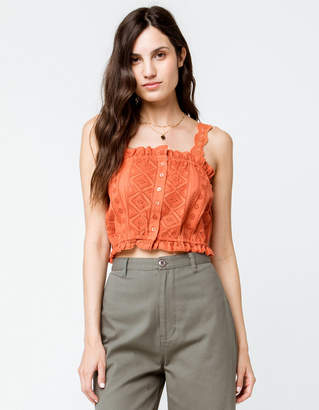 Sky And Sparrow Eyelet Button Front Rust Womens Crop Cami