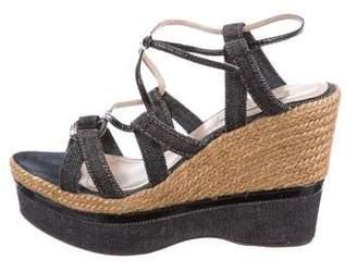 Nina Ricci Denim Platform Wedge Sandals