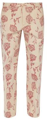 Aries Rose Print Cotton Twill Chino Trousers - Mens - Red White