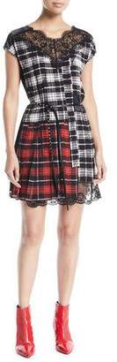 Marc Jacobs Cap-Sleeve Plaid Dress with Lace Neck and Hem