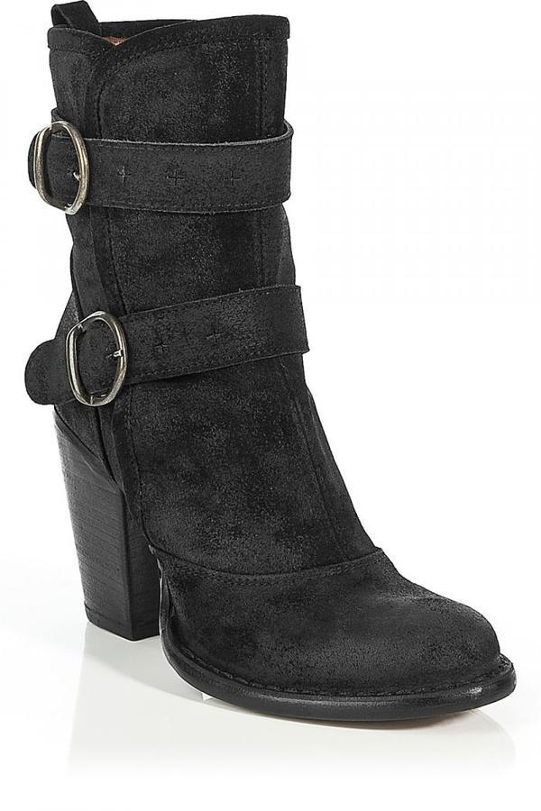 Fiorentini+Baker Black Suede 2Buckle Half Boots