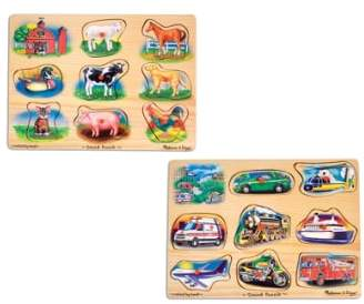 Melissa & Doug Farm & Vehicle Sound Puzzles
