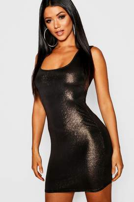 boohoo Metallic Square Neck Bodycon