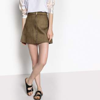 Only Zipped Faux Suede Mini Skirt