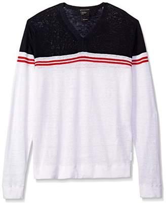 Armani Exchange A|X Men's Color Block Stripe Long Sleeve Linen Blend Knit