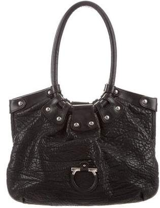 Salvatore Ferragamo Grained Leather Gancio Bag