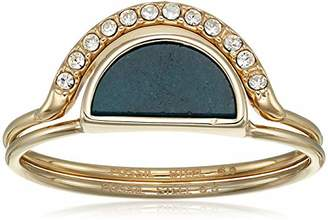 Fossil Women's Duo Half-Moon Jade and Gold-Tone Steel Rings