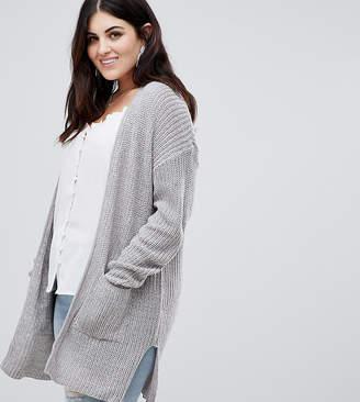 Brave Soul Plus shawl collar cardigan in fishman rib knit with pockets