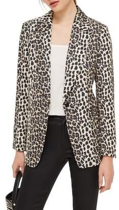 Topshop Leopard Print Suit Jacket