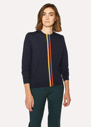 Paul Smith Women's Dark Navy Wool Cardigan With 'Artist Stripe' Detail