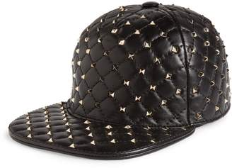 Valentino Rockstud Spike Leather Baseball Cap