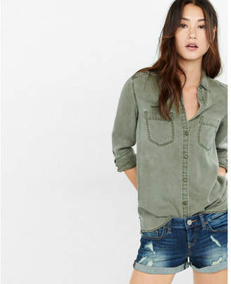 Express silky soft twill boyfriend shirt $59.90 thestylecure.com