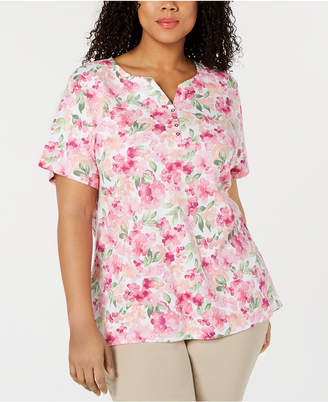 Karen Scott Plus Size Floral Spirit Henley Top