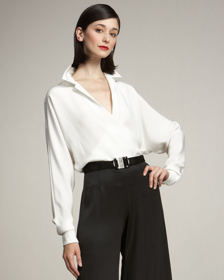 Ralph Lauren Collection Doris Silk Wrap Blouse