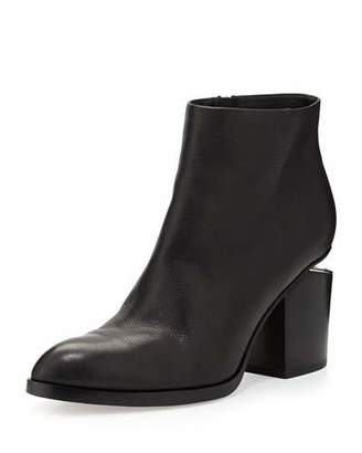 Alexander Wang Leather Bootie with Tilt-Effect Heel, Black $495 thestylecure.com