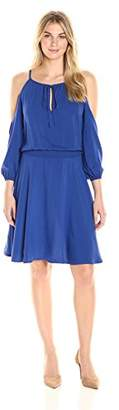 James & Erin Women's Cold Shoulder Smocked Waist Dress